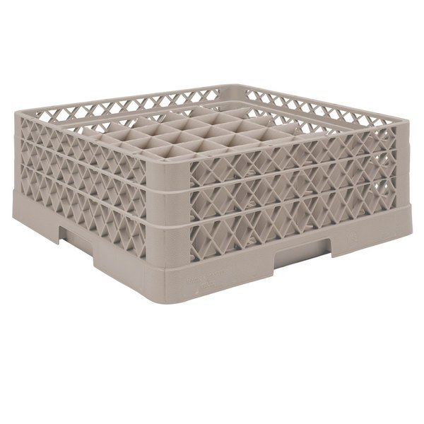 """Vollrath TR9EA Traex® Full-Size Beige 49-Compartment 6 3/8"""" Glass Rack with Open Rack Extender On Top"""