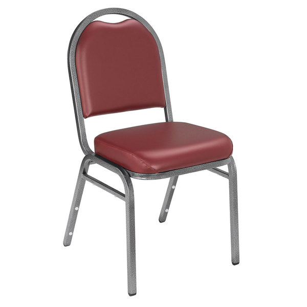 """National Public Seating 9208-SV Dome Style Stack Chair with 2"""" Padded Seat, Silvervein Metal Frame, and Pleasant Burgundy Vinyl Upholstery"""