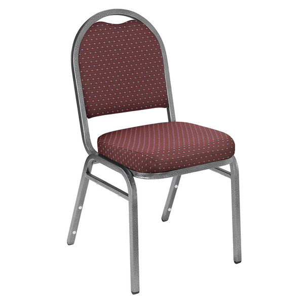 "National Public Seating 9268-SV Dome Style Stack Chair with 2"" Padded Seat, Silvervein Metal Frame, and Diamond Burgundy Fabric Upholstery Main Image 1"