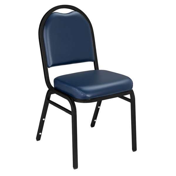"National Public Seating 9204-BT Dome Style Stack Chair with 2"" Padded Seat, Black Sandtex Metal Frame, and Midnight Blue Vinyl Upholstery"