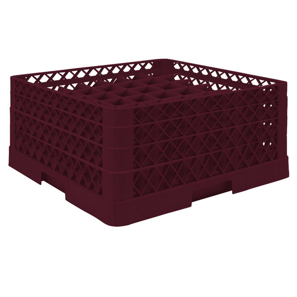 "Vollrath TR9EEA Traex® Full-Size Burgundy 49-Compartment 7 7/8"" Glass Rack with Open Rack Extender On Top"