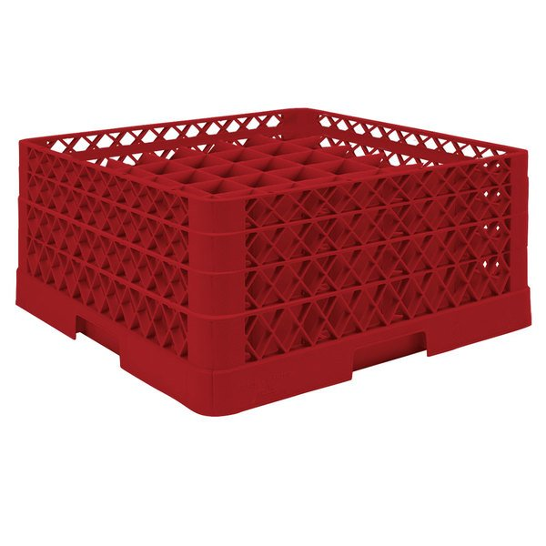 "Vollrath TR9EEA Traex® Full-Size Red 49-Compartment 7 7/8"" Glass Rack with Open Rack Extender On Top Main Image 1"