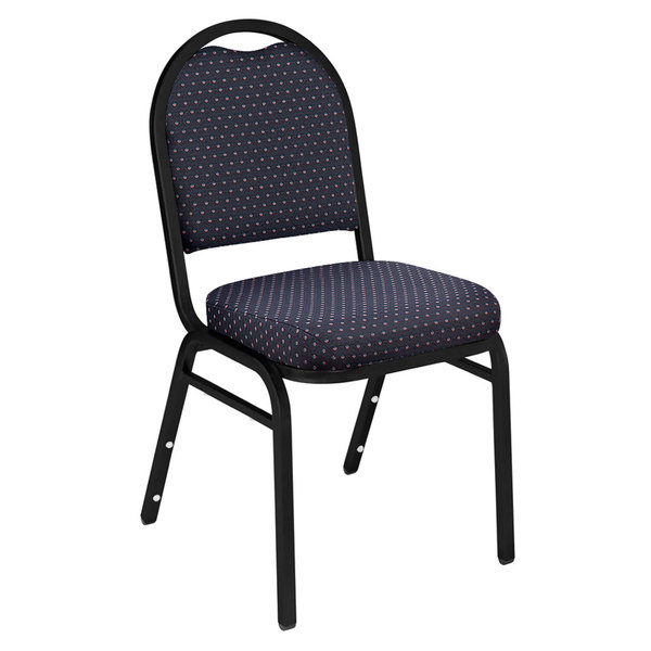 """National Public Seating 9264-BT Dome Style Stack Chair with 2"""" Padded Seat, Black Sandtex Metal Frame, and Diamond Navy Fabric Upholstery"""