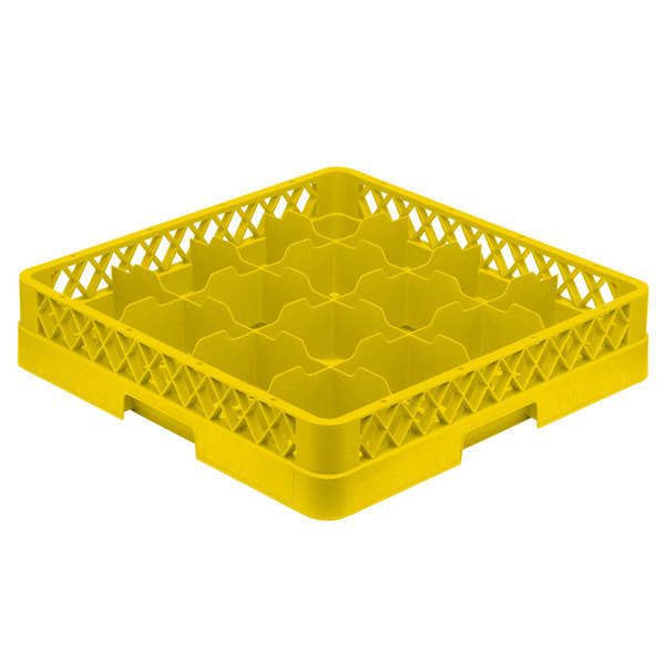 """Vollrath TR4 Traex® Full-Size Yellow 16-Compartment 3"""" Cup Rack"""