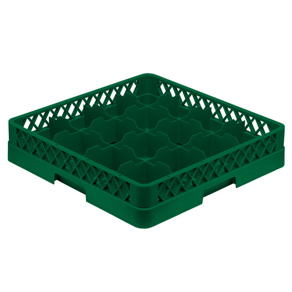 "Vollrath TR4A Traex® Full-Size Green 16-Compartment 4 13/16"" Cup Rack with Open Rack Extender On Top"
