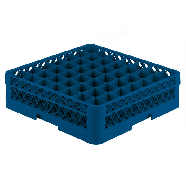"""Vollrath TR9E Traex® Full-Size Royal Blue 49-Compartment 4 13/16"""" Glass Rack"""