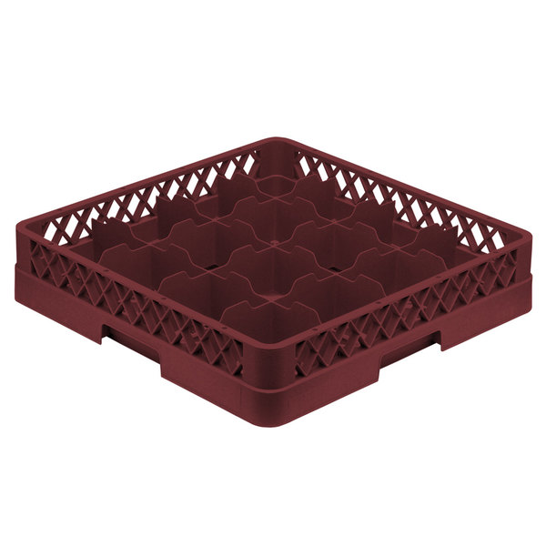 """Vollrath TR4 Traex® Full-Size Burgundy 16-Compartment 3"""" Cup Rack Main Image 1"""