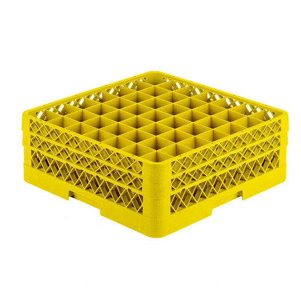 """Vollrath TR9EE Traex® Full-Size Yellow 49-Compartment 6 3/8"""" Glass Rack Main Image 1"""