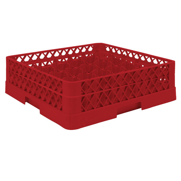 """Vollrath TR9A Traex® Full-Size Red 49-Compartment 4 13/16"""" Glass Rack with Open Rack Extender On Top Main Image 1"""