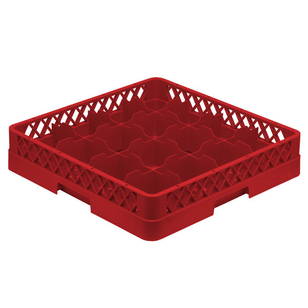 "Vollrath TR4 Traex® Full-Size Red 16-Compartment 3"" Cup Rack Main Image 1"