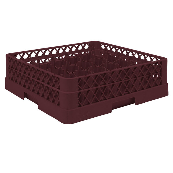 """Vollrath TR9A Traex® Full-Size Burgundy 49-Compartment 4 13/16"""" Glass Rack with Open Rack Extender On Top"""
