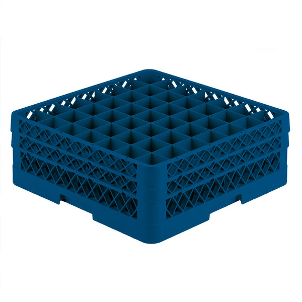 """Vollrath TR9EE Traex® Full-Size Royal Blue 49-Compartment 6 3/8"""" Glass Rack Main Image 1"""