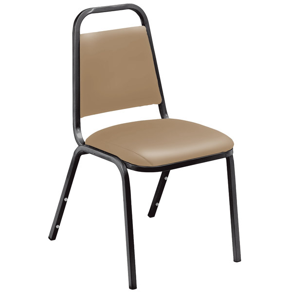 """Multiples of 4 Chairs National Public Seating 9101-B Standard Style Stack Chair with 1 1/2"""" Padded Seat, Black Metal Frame, and French Beige Vinyl Upholstery"""