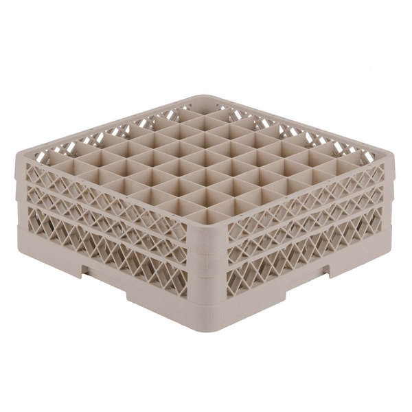 """Vollrath TR9EE Traex® Full-Size Beige 49-Compartment 6 3/8"""" Glass Rack"""