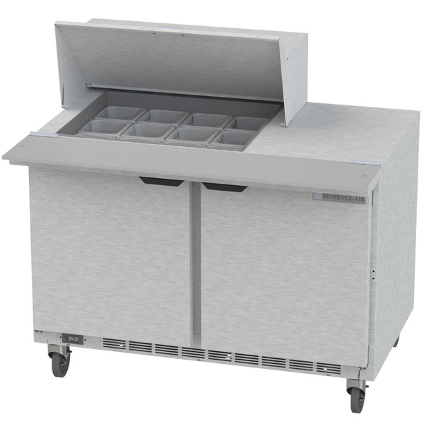 "Beverage-Air SPE48HC-12M Elite Series 48"" 2 Door Mega Top Refrigerated Sandwich Prep Table Main Image 1"