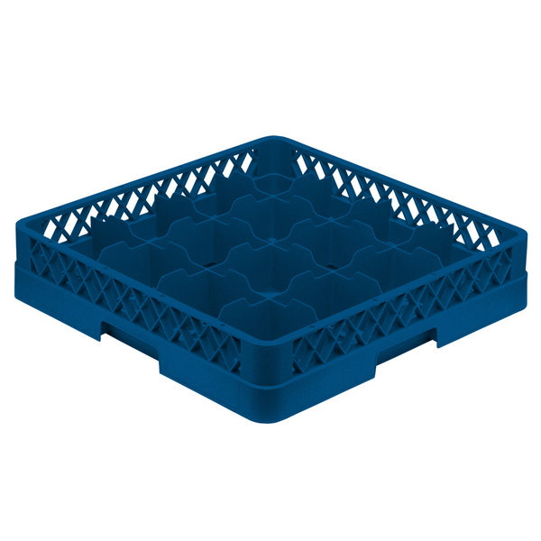 "Vollrath TR4A Traex® Full-Size Royal Blue 16-Compartment 4 13/16"" Cup Rack with Open Rack Extender On Top"