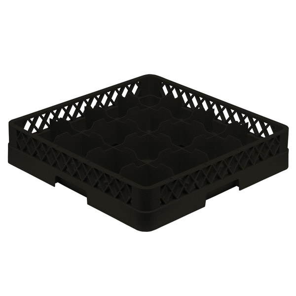 "Vollrath TR4A Traex® Full-Size Black 16-Compartment 4 13/16"" Cup Rack with Open Rack Extender On Top"