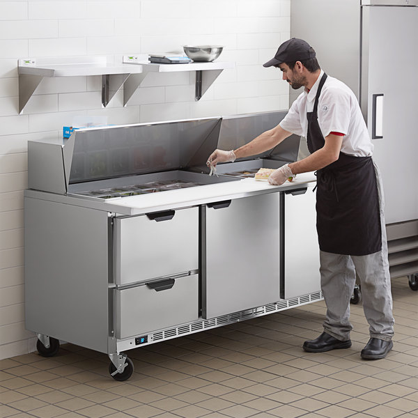 "Beverage-Air SPED72HC-30M-2 72"" 2 Door 2 Drawer Mega Top Refrigerated Sandwich Prep Table Main Image 7"