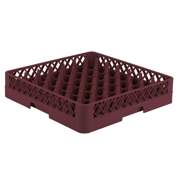 """Vollrath TR9 Traex® Full-Size Burgundy 49-Compartment 3 1/4"""" Glass Rack Main Image 1"""