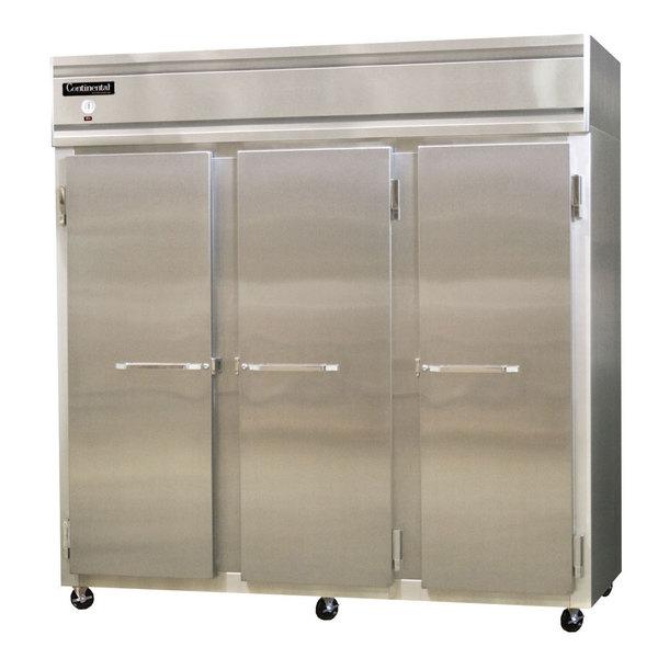 "Continental Refrigerator 3FS-HD 78"" Solid Half Door Shallow Depth Reach-In Freezer Main Image 1"