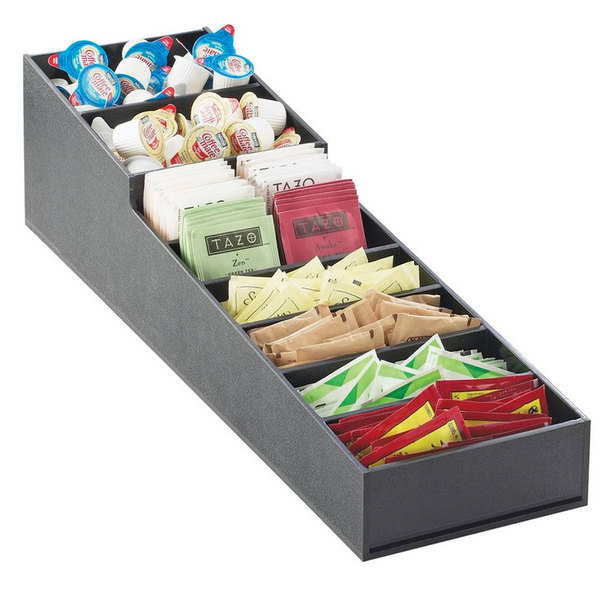"""Cal-Mil 2059 Stackable Black Condiment Display - 6 1/2"""" x 22 3/4"""" x 6 1/4"""""""