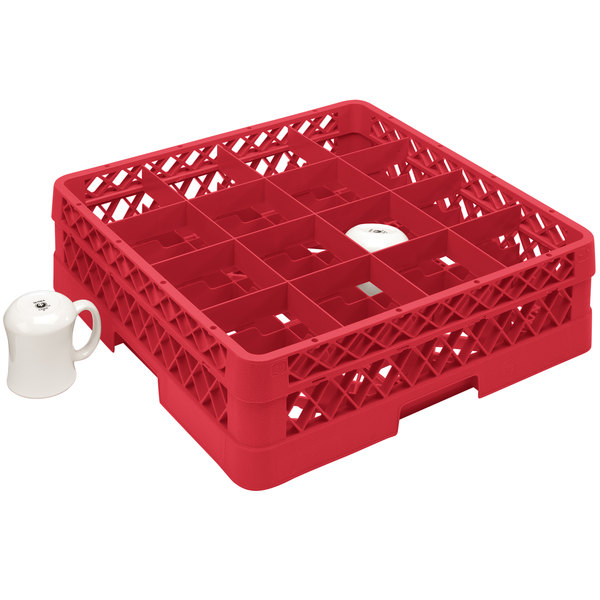 """Vollrath TR4DDDA Traex® Full-Size Red 16-Compartment 9 7/16"""" Cup Rack with Open Rack Extender On Top"""
