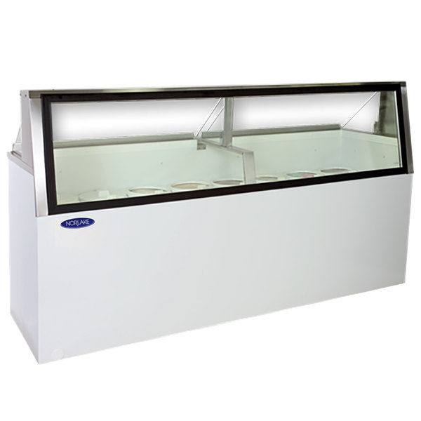 "Nor-Lake HF230-WWG/0L Nova 91"" Low Glass Ice Cream Dipping Cabinet Main Image 1"