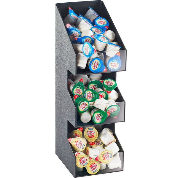 "Cal-Mil 2053 Classic Three Tier Black Condiment Display with Clear Bin Fronts - 5 1/4"" x 6 3/4"" x 16"""