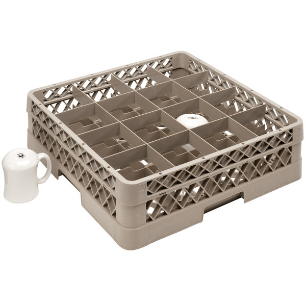 "Vollrath TR4DDA Traex® Full-Size Beige 16-Compartment 7 7/8"" Cup Rack with Open Rack Extender On Top"