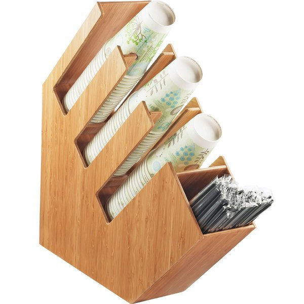 """Cal-Mil 2051-60 Bamboo Slanted 4 Section Cup / Lid / Straw Holder - 4 1/2"""" x 20"""" x 19 1/2"""""""