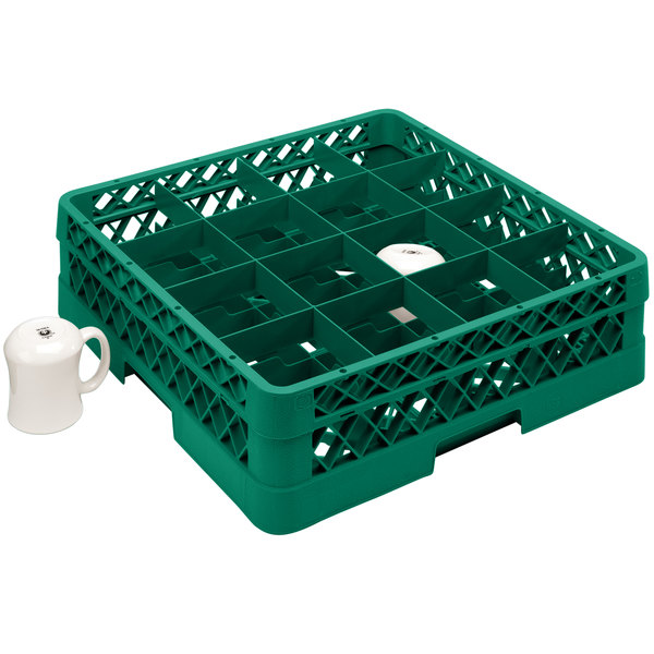 "Vollrath TR4DA Traex® Full-Size Green 16-Compartment 6 3/8"" Cup Rack with Open Rack Extender On Top"