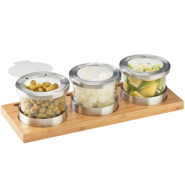 "Cal-Mil 1850-4-60HL Mixology Bamboo Three 16 oz. Jar Horizontal Display with Hinged Lids - 16"" x 6"" x 4"""