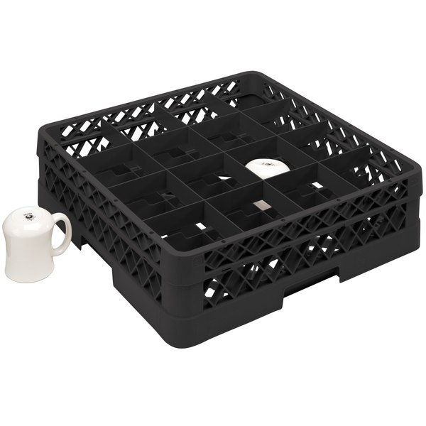 """Vollrath TR4DDA Traex® Full-Size Black 16-Compartment 7 7/8"""" Cup Rack with Open Rack Extender On Top"""