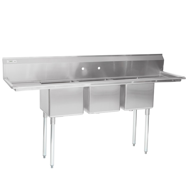 "Regency 79"" 16-Gauge Stainless Steel Three Compartment Commercial Sink with 2 Drainboards - 15"" x 15"" x 12"" Bowls"