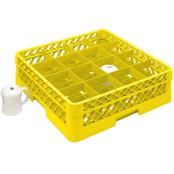 """Vollrath TR4DA Traex® Full-Size Yellow 16-Compartment 6 3/8"""" Cup Rack with Open Rack Extender On Top"""