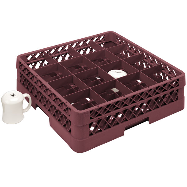 "Vollrath TR4DA Traex® Full-Size Burgundy 16-Compartment 6 3/8"" Cup Rack with Open Rack Extender On Top"