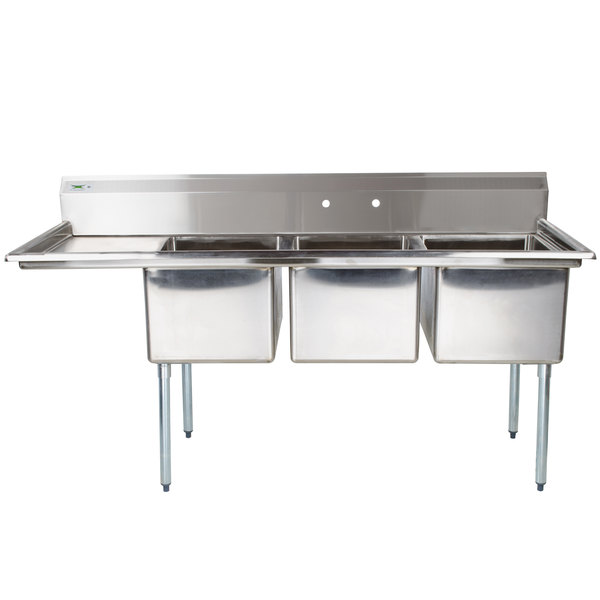 """Regency 66 1/2"""" 16-Gauge Stainless Steel Three Compartment Commercial Sink with 1 Drainboard - 15"""" x 15"""" x 12"""" Bowls"""
