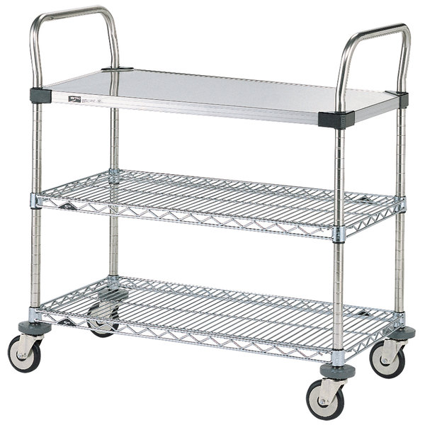 "Metro MW404 Super Erecta 21"" x 36"" x 39"" Three Shelf Standard Duty Utility Cart"