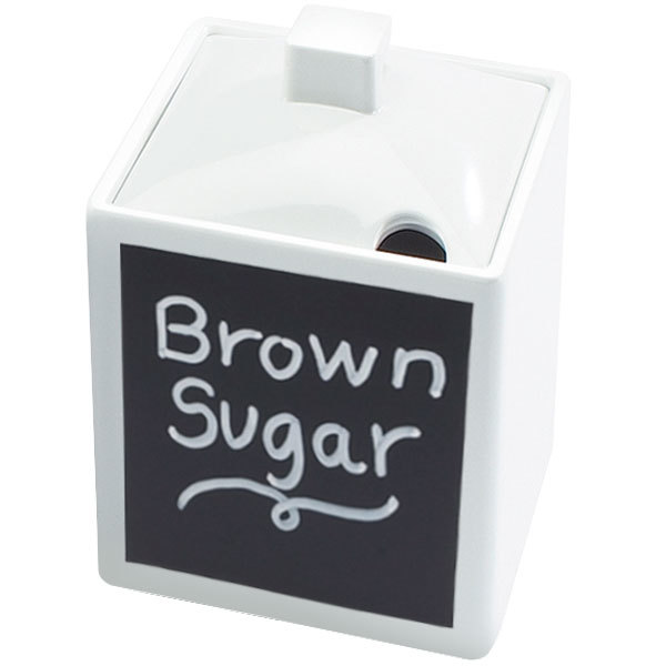 """Cal-Mil 1432-15N-C 4"""" White Melamine Write-On Square Jar with Notched Lid"""