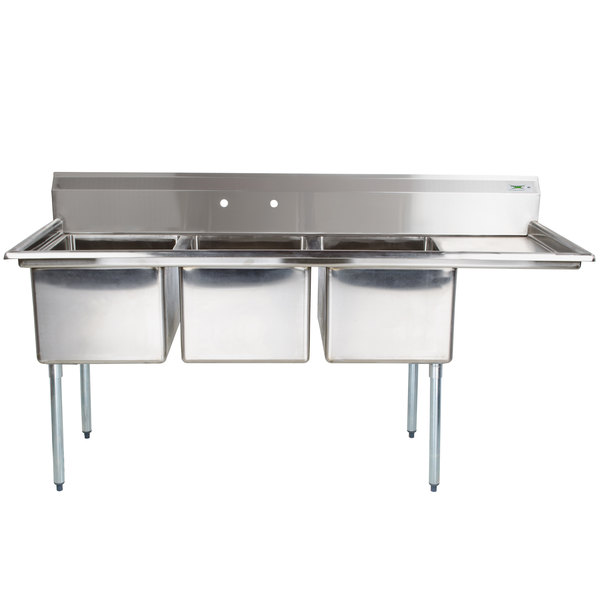"""Right Drainboard Regency 66 1/2"""" 16-Gauge Stainless Steel Three Compartment Commercial Sink with 1 Drainboard - 15"""" x 15"""" x 12"""" Bowls"""
