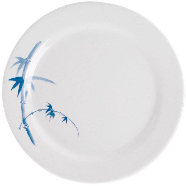 """Thunder Group 1008BB Blue Bamboo 7 7/8"""" Round Melamine Plate - 12/Pack"""