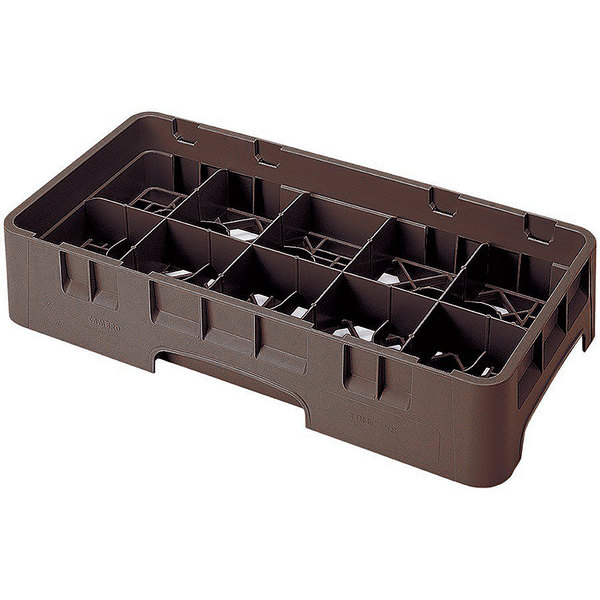 "Cambro 10HS958167 Brown Camrack 10 Compartment 10 1/8"" Half Size Glass Rack"