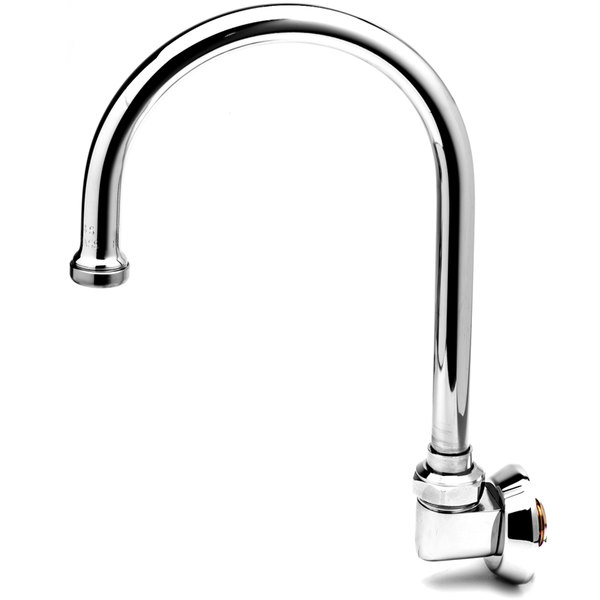 """T&S B-0527 Wall Mounted Swivel Gooseneck Spout with Aerator - 9 1/16"""" High with 5 3/4"""" Spread"""