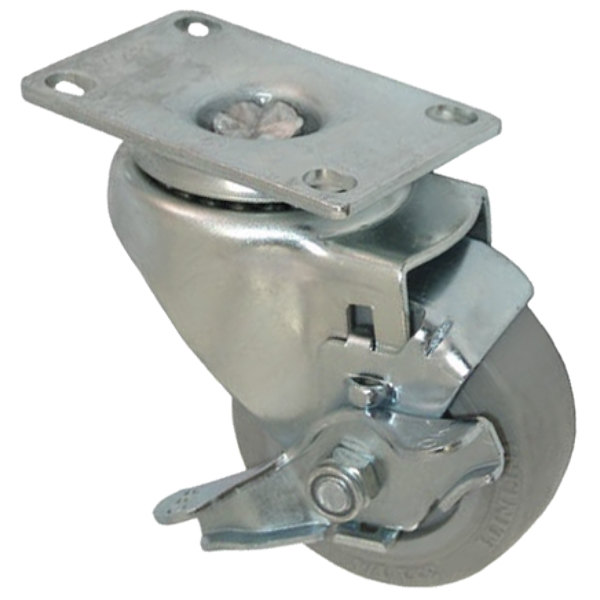 """All Points 26-2373 3"""" Swivel Plate Caster with Brake - 200 lb. Capacity Main Image 1"""