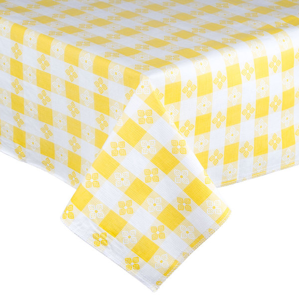 """52"""" x 52"""" Yellow Checkered Vinyl Table Cover with Flannel Back"""