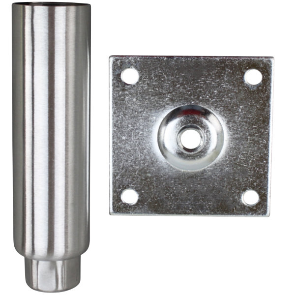 """All Points 26-2441 6"""" Stainless Steel Plate Mount Adjustable Equipment Leg - 3 1/2"""" Plate, 2000 lb. Capacity Main Image 1"""
