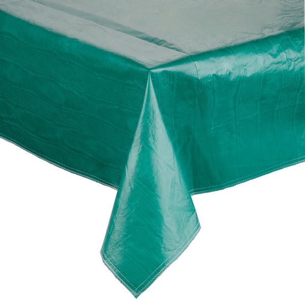 """52"""" x 72"""" Green Vinyl Table Cover with Flannel Back"""