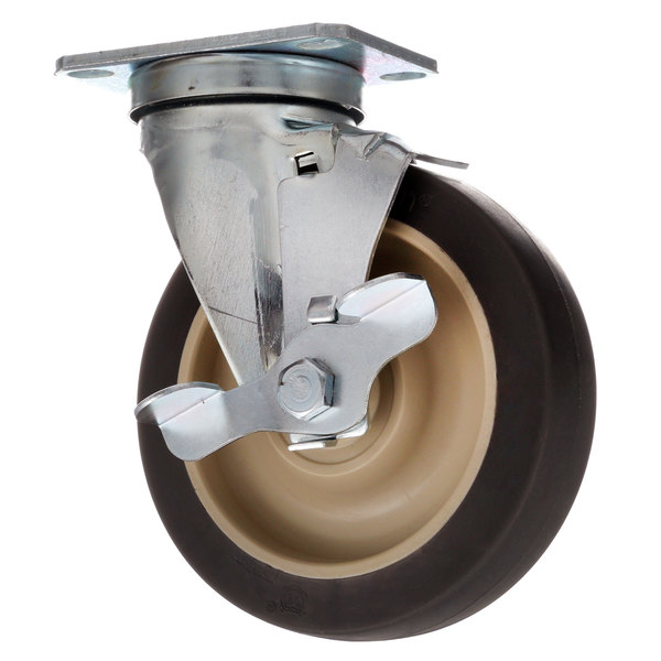 "All Points 26-2375 5"" Swivel Plate Caster with Brake - 300 lb. Capacity Main Image 1"