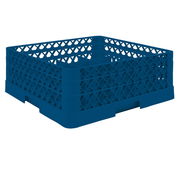 """Vollrath TR5AA Traex® Full-Size Royal Blue 20-Compartment 6 3/8"""" Cup Rack with Open Rack Extender On Top"""