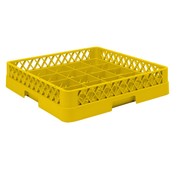 """Vollrath TR16BBBB Traex® Full-Size Yellow 25-Compartment 9 7/16"""" Cup Rack"""